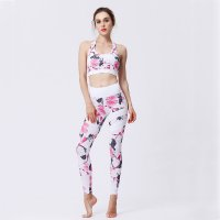 Women's Yoga Pants Pink&White Floral And Wireless Sports Bra Outfit