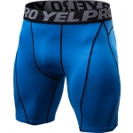 Men's Workout Shorts Tight Blue Compression Tights Pro Fitted Athletic Shorts