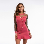 Women's Chiffon Dress Strapless Long Sleeve Slim Fit Knitting Pink Skirt