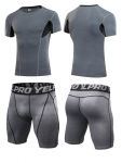 Men's Workout Clothes Grey Fitness Gym Wear Running Suits [20181205-2]