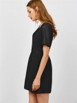Women's Shirt Dress Black Chiffon Short Sleeve A-line Skirt [20180505-2]