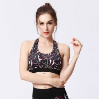 Women's Wireless Yoga Bra Black&Red Floral Sports Bra