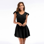 Women's Pouf Dress Summer Knitting Black A-line Skirt