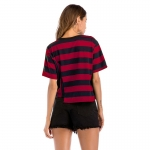 2018 Women's T-shirt Summer Stripe Hem Loose Red [20180331-4]