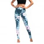 Women's Yoga Pants Floral Cyan High Waisted Tights Gym Workout Leggings [20181012-5]