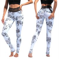 Women's Yoga Pants Floral White High Waisted Tights Gym Workout Leggings