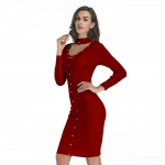 Women's Pencil Dresses Red With Rivets Long Sleeve Lady Dress