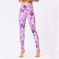 Women's Yoga Pants High Waisted Violet Floral Leggings