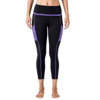 Women's Yoga Pants With Pockets For Phone Black and Purple High Waist Workout Leggings