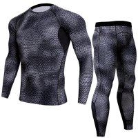 Men's Grey Compression Pants Snake Skin And LS Shirt Outfit