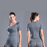 Women's Yoga Tops Shirts Grey Gym Running Crew Neck Sports Undershirts