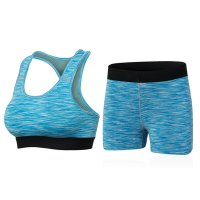 Women's Yoga Suits Blue Sports Bras And Yoga Shorts Workout Clothes