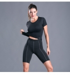 Women's Workout Suits Black Sports Shirt And Short Pants Gym Yoga Clothes [20180927-1]