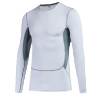 Men's Workout Tops Long Sleeve Athletic White Gym Pro Fitted Training Shirt