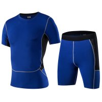 Men's Gym Clothes Blue Fitness Apparel Workout Kits