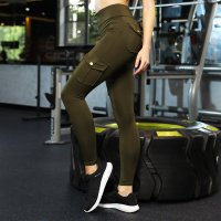 Women's Workout Pants Green High Waist Running Leggings