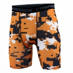Men's Compression Shorts Orange Pixel Pattern Gym Leggings