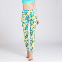 Printed Yoga Leggings Women's Yellow&Green Pants