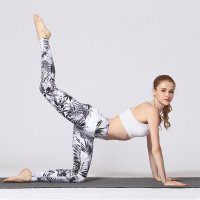 Women's Elastic Yoga Pants Black&White Printed Tights