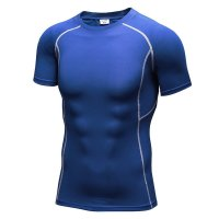 Men's Gym Tops Blue Fited Compression Wear Quick Dry Workout Shirts