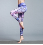 Women's Printed Fitness Tights Violet&Pink High Waisted Pants [20190723-8]