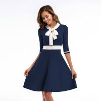 Women's Party Dress Half Sleeve Slim Fit Bow Tie Knitting Navy Skirt