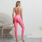 Women's Yoga Jumpsuit One Piece Pink Unitard Workout Romper [20190405-1]