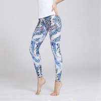 Printed Women's Yoga Pants Blue Patterned Tights