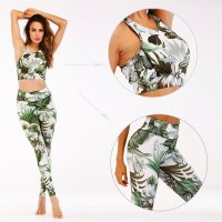 Women's Yoga Clothes Floral Athletic Set Green Training Workout Suits