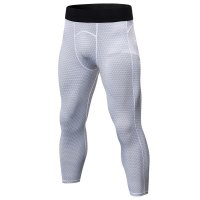 Men's Workout Pants Tights Gym White Compression Capri Pants Sports Leggings