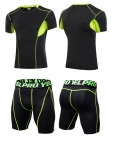 Men's Workout Clothes Black Green Fitness Gym Wear Running Suits [20181205-4]