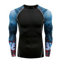 Men's Gym Shirts Long Sleeve Black&Blue Workout Top