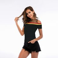 Women's Strapless Shirt Net Yarn Stitching Black Knitwear Top