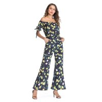 Women's Dressy Jumpsuits Navy Chiffon Off Shoulder lily Pattern