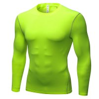 Men's Workout Tops Green Long Sleeve Bodybuilding Fitness Gym Shirts