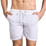 Men's Athletic Shorts With Pockets Liner White Running Beach Gym Workout Shorts
