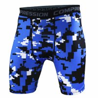 Men's Compression Shorts Blue Pixel Pattern Gym Leggings
