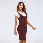Women's Sexy Bodycon Dresses Knitwear Claret With Buttons Jumper Skirt