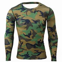 Men's Running Shirt Long Sleeve Green Camo Workout Top