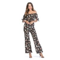 Women's Dressy Jumpsuits Black Chiffon Off Shoulder Gardenia Pattern