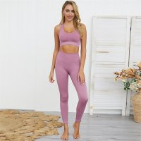 Women's Yoga Leggings And Violet Sports Bra Set