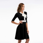 Women's Party Dress Half Sleeve Slim Fit Bow Tie Knitting Black Skirt [20180409-2]