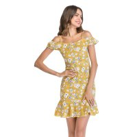 Women's Short Dress Yellow Cold-Shoulder Chiffon Falbala Skirt