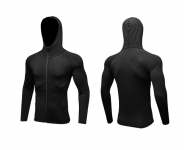 Men's Running Hoodie Full-Zip Velvet Black Training Jackets Athletic Sports Outwear [20181024-4]
