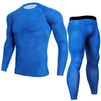 Men's Blue Compression Pants Snake Skin And LS Shirt Outfit