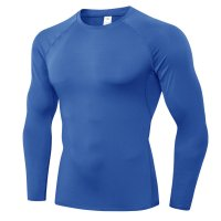 Men's Blue Breathable Workout Shirt Long Sleeve