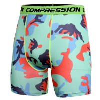 Men's Compression Shorts Green Camo Workout Tights