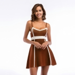 Women's Slip Dress Summer knitting Khaki Bubble Skirt