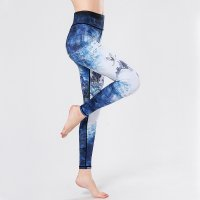Women's Tummy Control Yoga Pants High Waist Blue Leggings