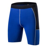 Men's Tight Fitting Gym Shorts Blue 7 Inch Inseam Workout Shorts